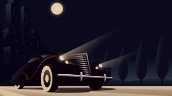 Moon skyscrapers digital art artwork old car wallpaper