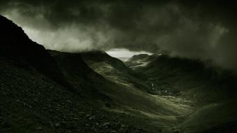 Mountains clouds landscapes nature dark Wallpaper