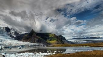 Mountains clouds landscapes nature glacier lagoon skaftafell wallpaper