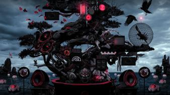 Ninjas bonsai crows photo manipulation speaker sea Wallpaper