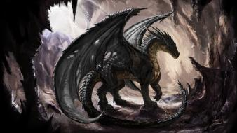 Paintings caves dragons fantasy art artwork Wallpaper