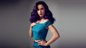 Perry purple hair blue dress simple background wallpaper