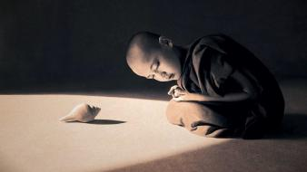 Sepia buddhism shells boys monks gregory colbert Wallpaper