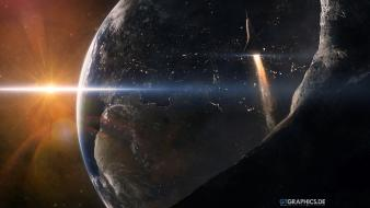 Sun outer space planets earth spaceships sci-fi wallpaper