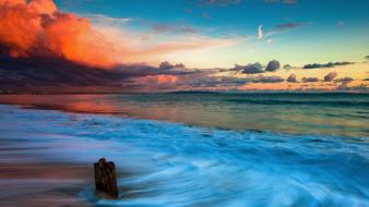 Sunset clouds california wooden stake malibu sea beach wallpaper