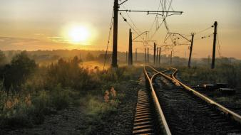 Sunset empty railway tracks Wallpaper