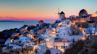Sunset houses santorini greece wallpaper