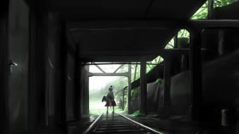 Touhou railroad tracks inubashiri momiji tokin hat wallpaper