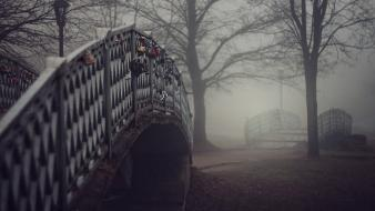 Trees fog mist bridges wallpaper