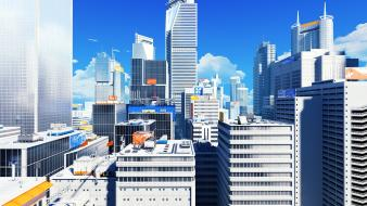Video games cityscapes mirrors edge skyscrapers wallpaper