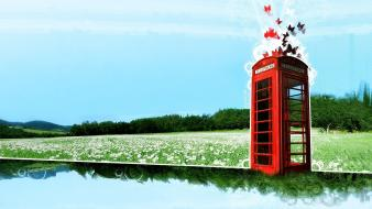 Abstract red artwork phone booth widescreen butterflies wallpaper