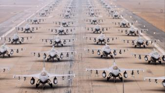 Aircraft military f-16 fighting falcon aviation airfield Wallpaper