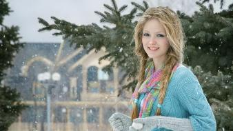 Blondes snow teen outdoors faces wallpaper