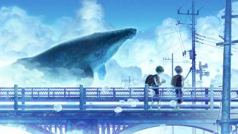 Blue clouds summer bridges whales scenic sky wallpaper