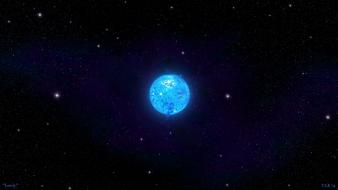 Blue outer space stars planets lonely digital art wallpaper