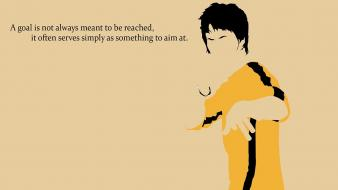 Bruce lee black minimalistic yellow quotes inspirational wallpaper