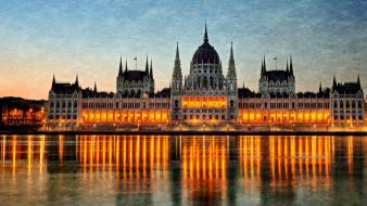 Budapest rivers reflections parliament houses hungarian building wallpaper