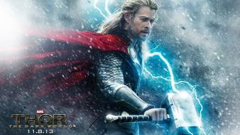 Chris hemsworth mjolnir thor: the dark world wallpaper