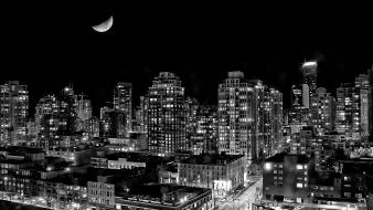 Cityscapes vancouver monochrome wallpaper