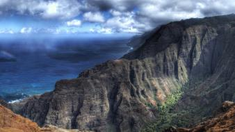 Cliffs beige skies ravine sea kauai island Wallpaper