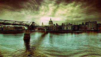 Clouds landscapes buildings hdr photography rivers the bridge Wallpaper