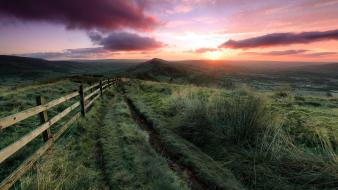 Clouds landscapes nature fences grass hills sunlight Wallpaper