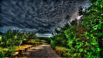 Clouds landscapes nature trees paths surreal hdr photography Wallpaper