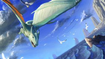 Dragons flying birds fantasy art owls artwork wallpaper