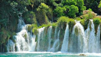 Forests croatia waterfalls rivers national park turquoise Wallpaper