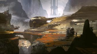 Futuristic halo harvest science fiction artwork 4 wallpaper