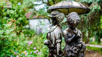Garden sculpture fountains bokeh statues water drops wallpaper