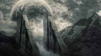 Gate romantic guardians rivers photo manipulation skies wallpaper