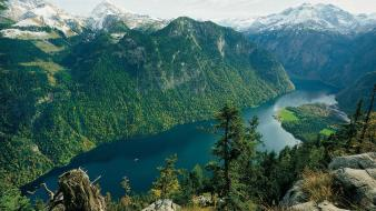 Germany lakes national park berchtesgaden snowy peaks wallpaper