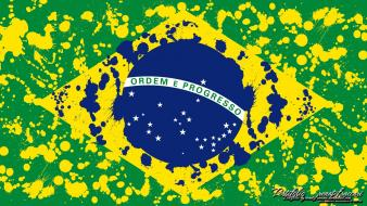 Green blue yellow flags brazil countries emblems colors wallpaper
