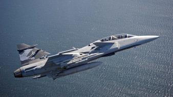 Gripen demo fighter jets airforce sea wing wallpaper