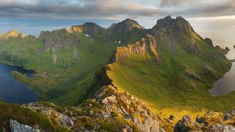 Islands moss lakes lofoten ridge sea upscaled wallpaper