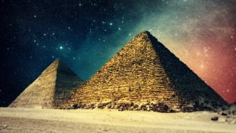 Landscapes egypt digital art pyramids night sky wallpaper