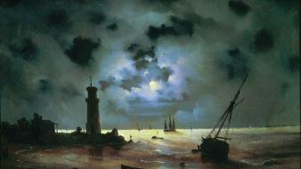 Lighthouses boats artwork ivan aivazovsky russian beach wallpaper