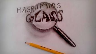 Minimalistic drawings 3d magnifying glass wallpaper