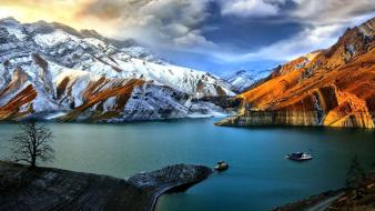 Mountains landscapes nature sunlight iran amir kabir dam wallpaper
