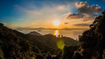Mountains landscapes sun lens flare hong kong asia wallpaper