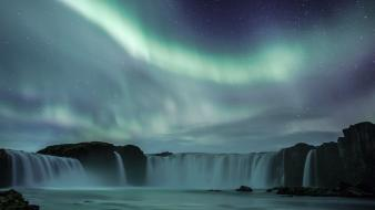 Nature aurora iceland waterfalls wallpaper