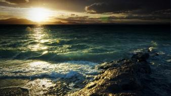 Nature coast sun waves seaside sea beach wallpaper