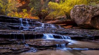 Nature trees autumn forests waterfalls creek falling wallpaper