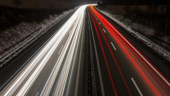 Night highways long time exposure wallpaper
