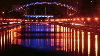 Red night lights yellow bridges romania rivers Wallpaper
