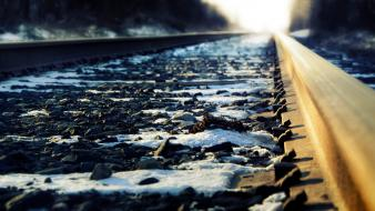 Snow rocks railroad tracks pebbles railways wallpaper