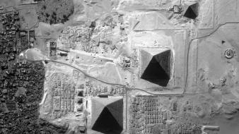 Space satellite egypt grayscale giza pyramids outerspace wallpaper