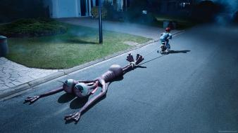 Streets drugs bicycles funny aliens widescreen children drag wallpaper