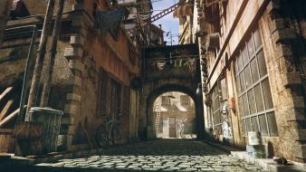 Streets urban bows alley townscape render wallpaper